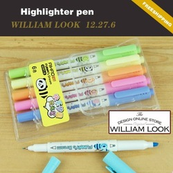 Min.order is $25 (mix order) colorful Highlighter pen with six pack two head can write Pen highlighters promotion gift QS12276(China (Mainland))