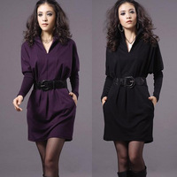 HOT Autumn Knitted one-piece Dresses V-neck OL Slim Elegant Long-sleeve Ladies' Dress Plus size ,Free Shipping QH004