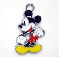 M006 Wholesale 100Pcs/Lots Alloy metal Enamel mickey mouse Charms Metal charms 28*17mm