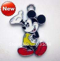 M007 Wholesale 100Pcs/Lots Alloy metal Enamel mickey mouse Charms Metal charms 30*24mm