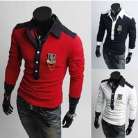 Футболка 2012 New Men's Polo T-Shirts Casual Slim Fit Stylish long-Sleeve Shirt Color:Black, White Size:M-XXL 015