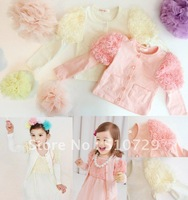 2014 new baby coats floral coat long sleeve flower cadigan lace topcoats girls clothes 5pcs/lot children's outwear baby clothing