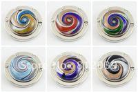 Free shipping wholesale Mix color Vintage bag hook Round foldable Bag Hanger/Purse Hook/Handbag Holder  6pcs/lot BG025-BG030