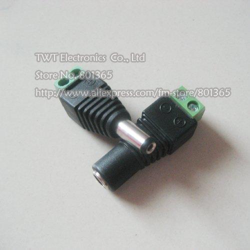 Free shipping 5Pair (5pcs female+5pcs male) Male Female 5.5 x 2.1mm DC Power 12V 24V Jack Adapter Connector Plug CCTV(China (Mainland))