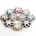 Wholesale Charms Alloy Mixed Color Crystal Rhinestone European Beads Fit Charms Bracelet 12mm 40pcs 151827