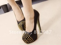 Free shipping wholesale 2012  fashion women's chic gold  studs toe thick bottom stiletto  high heel pumps