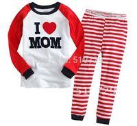 2014 new baby girl pyjamas kids I love mom clothing set girl's homewear t shirt + stripe pants soft cotton clothes sets 6pcs/lot