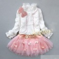 Free shipping 1set sell clothes children 3pcs suit girls long sleeve  pearl  outwear+t shirt+skirt Kids autumn clothes set
