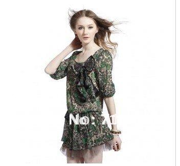 fashion leopard dresses, personality lady's dress, high grade silk beautiful dress , Free shipping(China (Mainland))