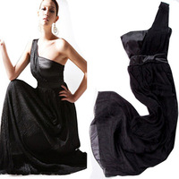 2012 Party dress one shoulder satin silk Sexy Evening dress Star Celebrity dress B4675
