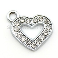 19*15mm Crystal Hollow Heart Charms Free Shipping (C30032)
