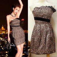 Hot Fashion New creased print dresses,Elegant women's formal dress Sexy cocktail dress Free Shipping B1183