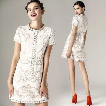 Free Shippig New 2014 Summer Elegant Empire Silk Cream Cotton-blend Lace Dress White Hot Sale