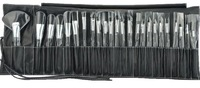 wholesale 2012 hot sell 24pcs Pro Cosmetic Tool Makeup Brush Set Kit With Roll Up Black Bag Case