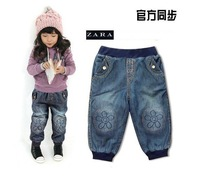 Bag mail, children jeans, embroidered girl cowboy pants (suitable for height 90-100-110-120-130 cm, 5 PCS/LOT)