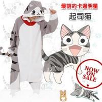 Thatmany lovers cheese cat cartoon animal one piece sleepwear