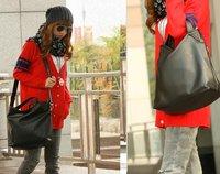 Tri-functional Black Bag Leather Handbags Women Shoulder Messenger Handbag Korean Style Many Color