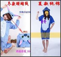 100% cotton cartoon animal coral fleece stitch one piece sleepwear lovers lounge