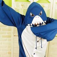 Qsweet cartoon shark whitecat animal one piece sleepwear lovers lounge