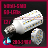 free shipping 10pcs/lot, 1080LM 12W E27 60 LED SMD 5050 Energy Saving LED Corn Light Screw Bulb Lamp Warm/Cool White E27/E14/B22