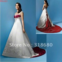 Elegant A-line Cap Sleeve Chapel Long Train Satin Red And White Wedding Dresses