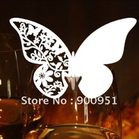 White New Butterly design  place cards for wine glass,8*8cm,customized design&package,27color,10/20pcs/pk