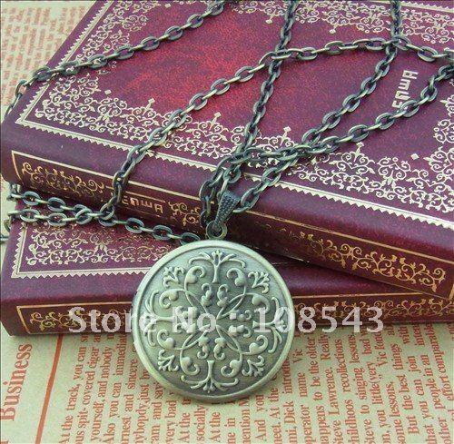 Free shipping(5pieces/lot) antique bronze plated European vintage round shaped prayer box photo locket pendant necklace I6N(China (Mainland))