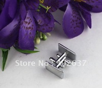 1 Set Rhodium Plated Smooth Edged Rectangle Cufflinks #22063