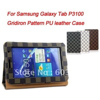 "Free shipping Gridiron Pattern PU Leather Case for samsung galaxy tab P3100 7"" tablet PC, galaxy tab p3100 Stand Cover"