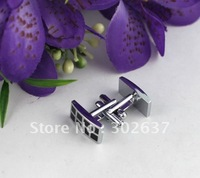 1 Set Black Enamel Slot Rectangle Cufflinks #22074