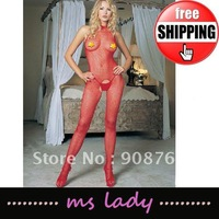 Sexy Lingerie Seamless Fishnet OPEN CROTCH Bodystocking one size red color 10pcs/lot Free Shipping HK Airmail