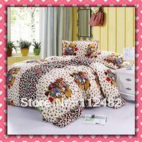 CORAL FLEECE 3pcs Fashion Bears Single-size Soft Bedding Set Gift Free Shipping