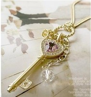 Promise Retro Elegant Crystal Heart Pearl Key Pendant Necklace 2pcs/Lot Z-T4007 Free Shipping