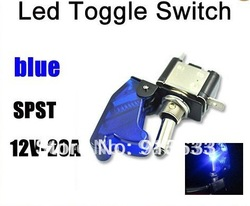 In stock 2013 12V Racing Car Blue LED Lights Cover Toggle Switch US Delivery(China (Mainland))