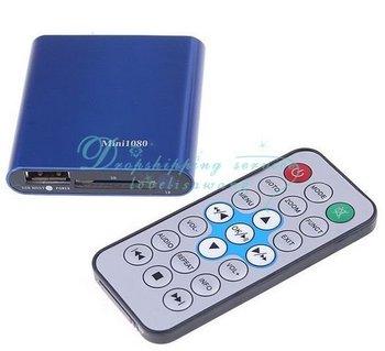 Free Shipping/Drop Shipping Wholesale Mini SD USB HDMI 1080P HD Media Player USB MKV RMVB RM SD SDHC MMC HDD HDMI New
