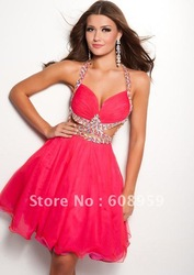 2013 Sexy A-line Halter Beading Backless Mini Short Ball Prom Gowns Homecoming Dresses Designer(China (Mainland))