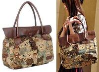 Hot Seller! Lovely Teddy Bear Bags Handbags Women Cotton Tote Bags Shoulder Bag Versatile Christmas Gift