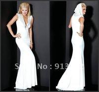Hot Sale 2012 Fashionable Short Sleeve Beading Hood Sexy Sheath White Long Evening Prom Dress Custom Made