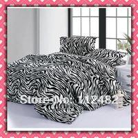 CORAL FLEECE 3pcs Single-size Bed zebra-stripe Printing Soft Bedding Set Gift Free Shipping