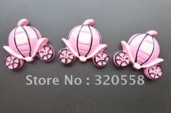 "Wholesale 50pcs 1.2"" Cinderella Pink Pumpkin car FlatBack Resins Scrapbooking Embellishment Free Shipping"