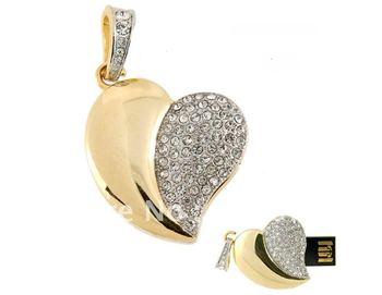 Fashion 4GB/8GB/16GB/32GB Jewelry Crystal Heart Shape USB Flash Drive Memory Stick Golden