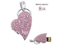 Crystal Jewelry Heart Shape USB Flash Drive Memory Stick U-Disk Pink 4GB/8GB/16GB/32GB