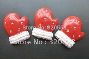 "Wholesale 50pcs 1"" Christmas Red gloves FlatBack Resins Scrapbooking Embellishment"