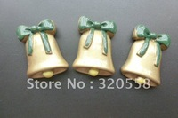 "Wholesale 30pcs 1"" Christmas Gold Bell FlatBack Resins Scrapbooking Embellishment Free Shipping"