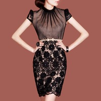 Free shipping-women's elegant dresses black lace floral decorated silk dresses S~XXL High Quality
