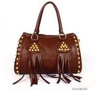 wholesalle  2012 Women's Fashion Punk Fringe Tassel Handbag Shoulder Bag Messenger Handbags Free shipping