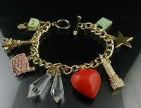 Pendants Bracelet Fashion Jewelry Red Heart Star Tower Pendants Free Shipping High Quality Gift Box#J10