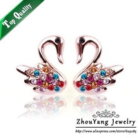 ZYE106 Purple Crystal Earrings 18K Platinum Plated Fashion Jewelry Made with Austrian Crystal SWA Elements Wholesale