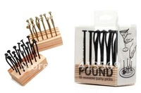 Free shipping wholesale 18pcs/set 10sets Supercute Pound Party Nails Toothpicks : Reusable Toothpicks Party Picks