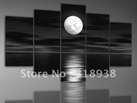 hand-painted Sea full moon night oil painting home decoration abstract Landscape oil painting on canvas 5pcs/set /sa-1294